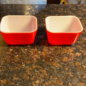 2 Pyrex Red 501 Glass Storage Containers